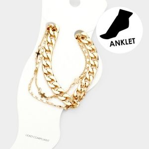 Gold Chain Cross Pendant Layered Cute Anklet Metal